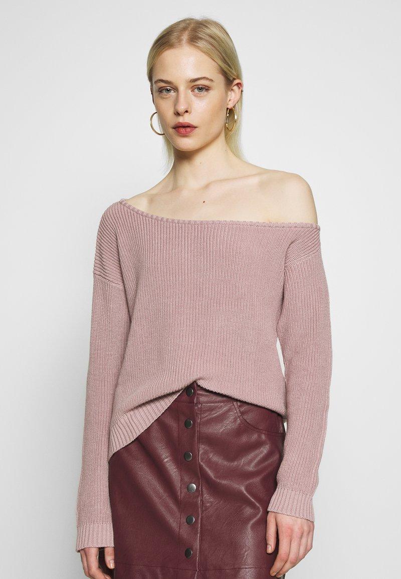 Even&Odd - BASIC-OFF SHOULDER - Sweter - rose
