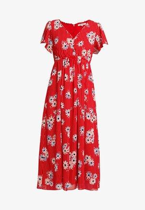V NECK FLUTTER SLEEVE MIDI DRESS PRINT - Day dress - retro lipstick red