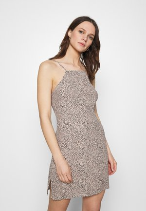 HALTER SLIP SHORT DRESS  - Cocktail dress / Party dress - brown
