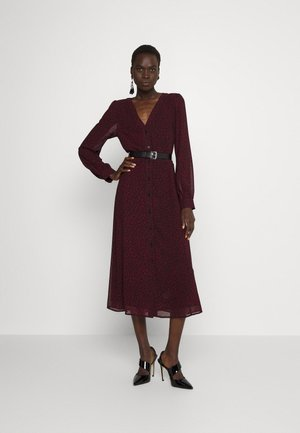 CHEETAH DOWN MIDI - Day dress - dark ruby