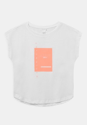 ONPMAGNY LIFE LOOSE SLIT - Print T-shirt - white/neon orange
