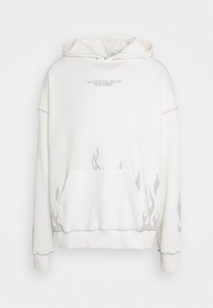BOXY DISTRESSED FLAME GRAPHIC HOOD - Sweatshirt - off white