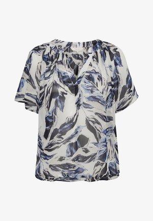 Blouse - blue palm print