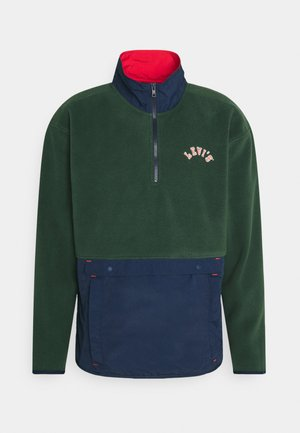 QUARTER ZIP POLAR UNISEX - Felpa aperta - dark green/dark blue