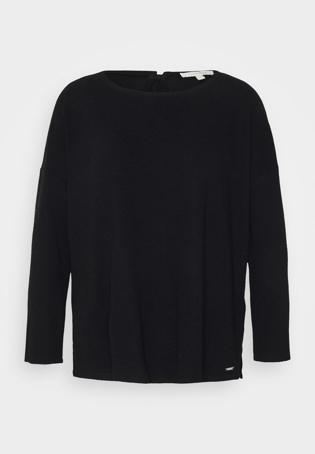 STRUCTURED TEE - Long sleeved top - deep black
