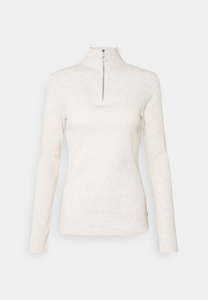 LONGSLEEVE TURTLENECK WITH ZIPPER SPECIAL COLLAR - Long sleeved top - beige melange