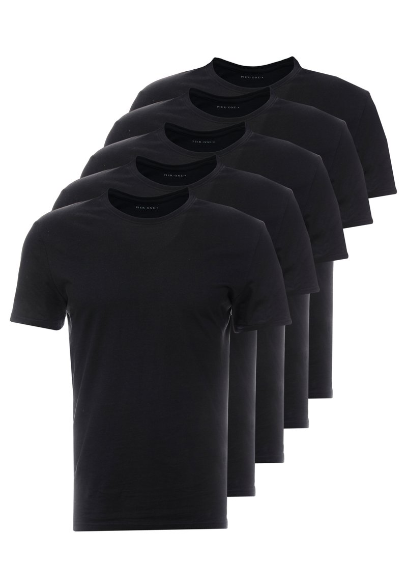 Pier One - 5 PACK - T-shirts basic - black