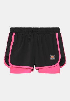 MAYLIA - Krótkie spodenki sportowe - black/neon pink