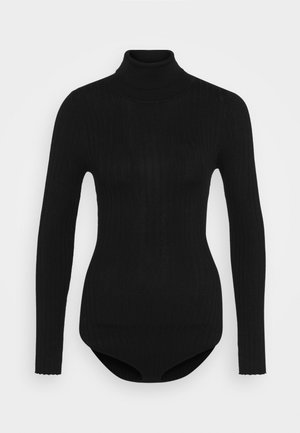BODYSUIT- TURTLE NECK RIBBED - Jumper - black