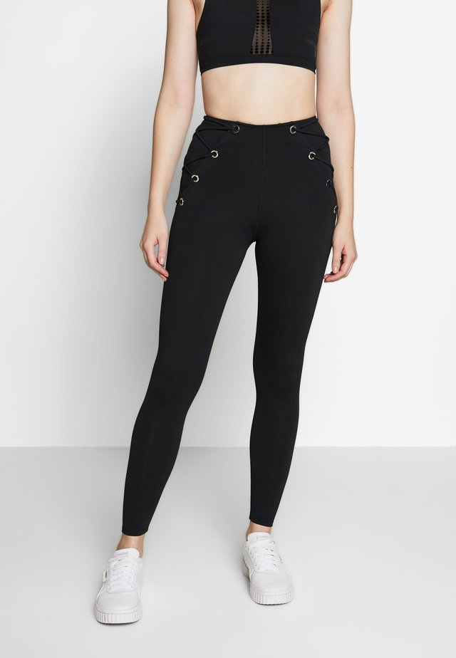 LACED SIDES LONG - Collant - black