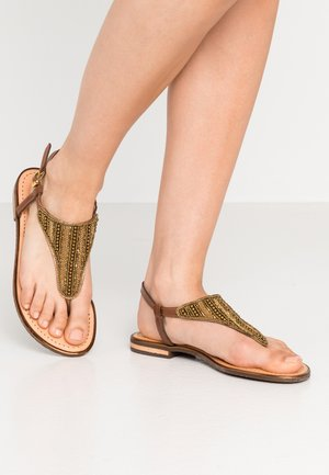 SOZY PLUS - T-bar sandals - cognac
