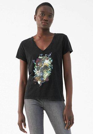 FLORAL SKULL GRAPHIC - T-shirt print - noir