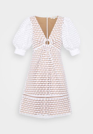 GEO EYELET MINI DRESS - Day dress - white