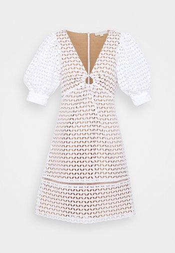GEO EYELET MINI DRESS