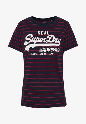 VINTAGE LOGO STRIPE ENTRY TEE - Print T-shirt - atlantic navy slub