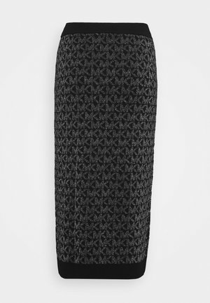 SKIRT - Pencil skirt - black/silver