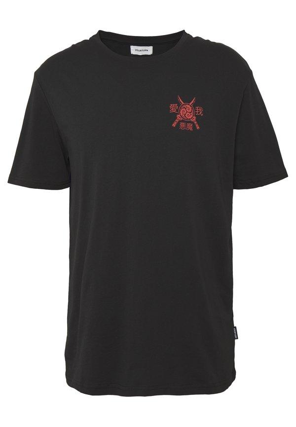YOURTURN T-shirt z nadrukiem - black/czarny Odzież Męska AKIW