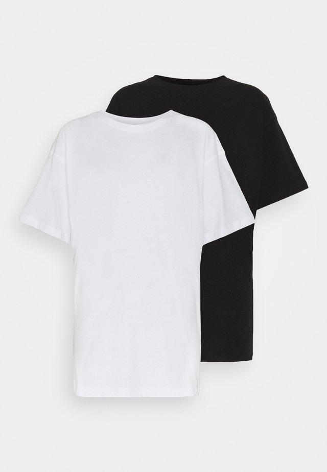 DROP SHOULDER OVERSIZED WASHED 2 PACK - Basic T-shirt - black