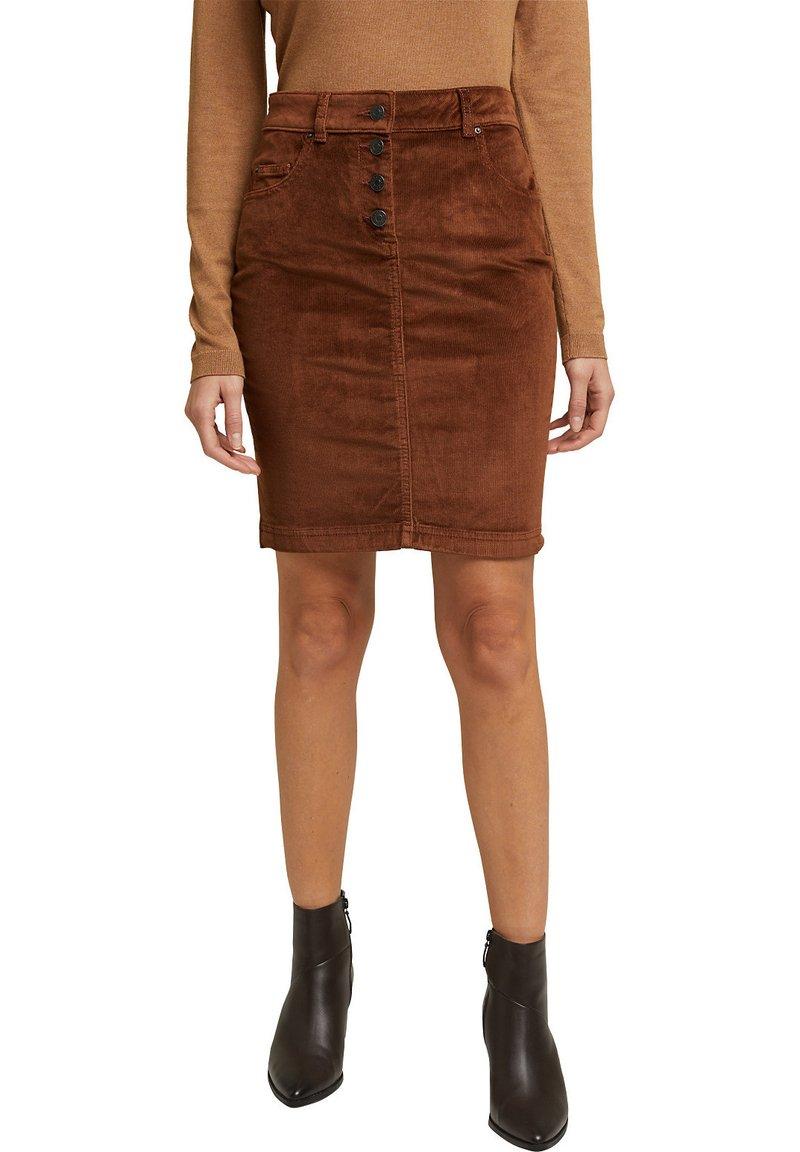 Esprit - PENCIL SKIRT - Pencil skirt - brown