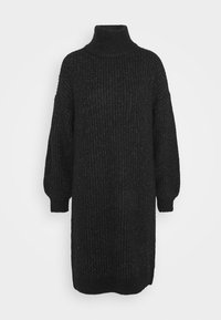 NMROBINA HIGH NECK DRESS - Strikket kjole - dark grey melange
