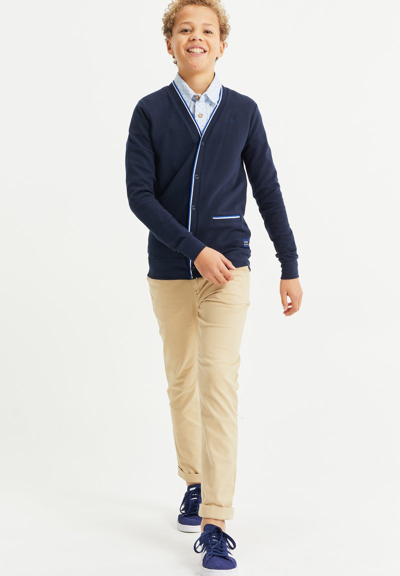 WE Fashion - MET RIBSTRUCTUUR - Strickjacke - navy blue