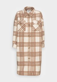 ONLLOU CHECK LONG SHACKET   - Classic coat - winter white semolina/taupe
