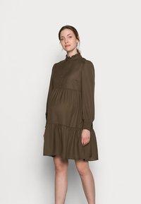 Pieces Maternity - PCMLULLA DRESS - Shirt dress - black olive - 0