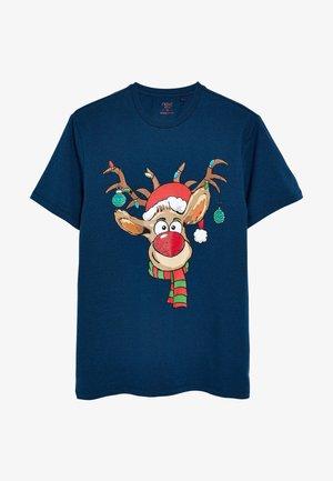 CHRISTMAS  - Print T-shirt - mottled dark blue