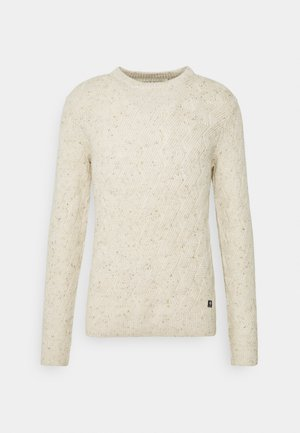NEP YARN CABLE CREWNECK - Jumper - offwhite nep non solid