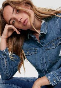 ONLY - Button-down blouse - dark blue denim - 4