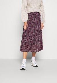Dorothy Perkins - FLORAL PLEAT MIDI SKIRT - A-line skirt - pink - 0