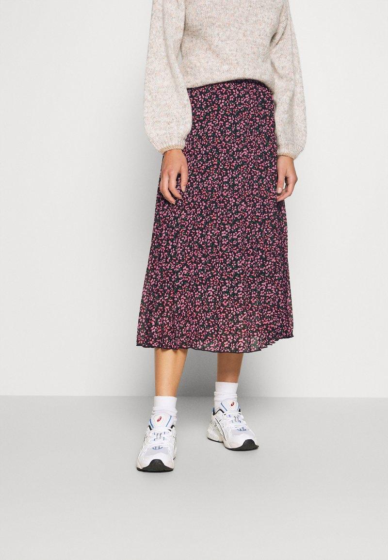 Dorothy Perkins - FLORAL PLEAT MIDI SKIRT - A-line skirt - pink