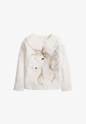 SEQUIN UNICORN - Long sleeved top - white