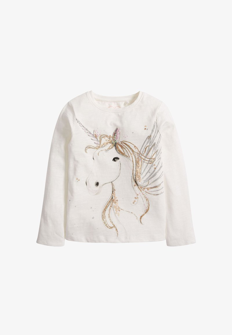 Next - SEQUIN UNICORN - Long sleeved top - white