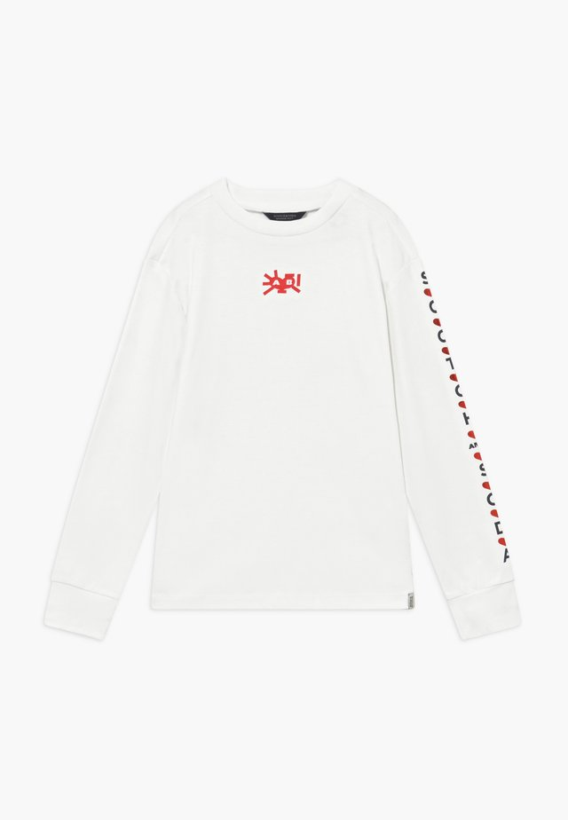 LONG SLEEVE TEE WITH HIGH NECK AND VARIOUS ARTWORK - Pitkähihainen paita - off white