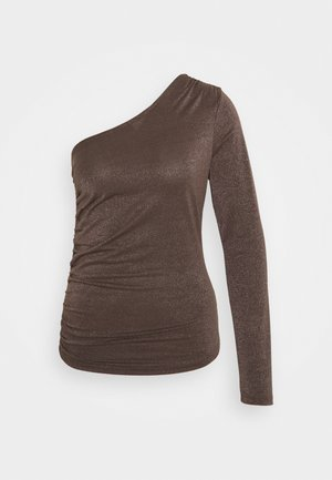 ONE SHOULDER GATHERED - Long sleeved top - brown glitter