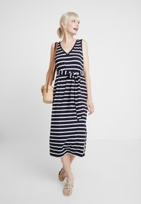 Banana Republic - V NECK TIE WAIST DRESS STRIPE - Jersey dress - navy - 2