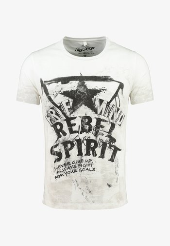 MT FREEMIND - Print T-shirt - offwhite/mudbrown