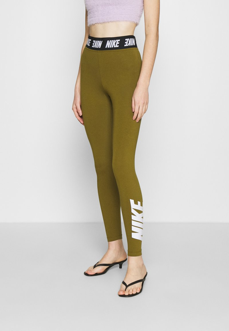 Nike Sportswear - CLUB  - Leggings - olive flak/white