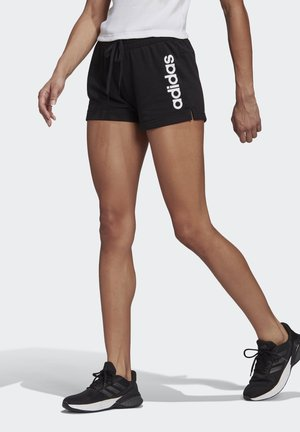 ESSENTIALS SLIM LOGO SHORTS - Pantalón corto de deporte - black/white