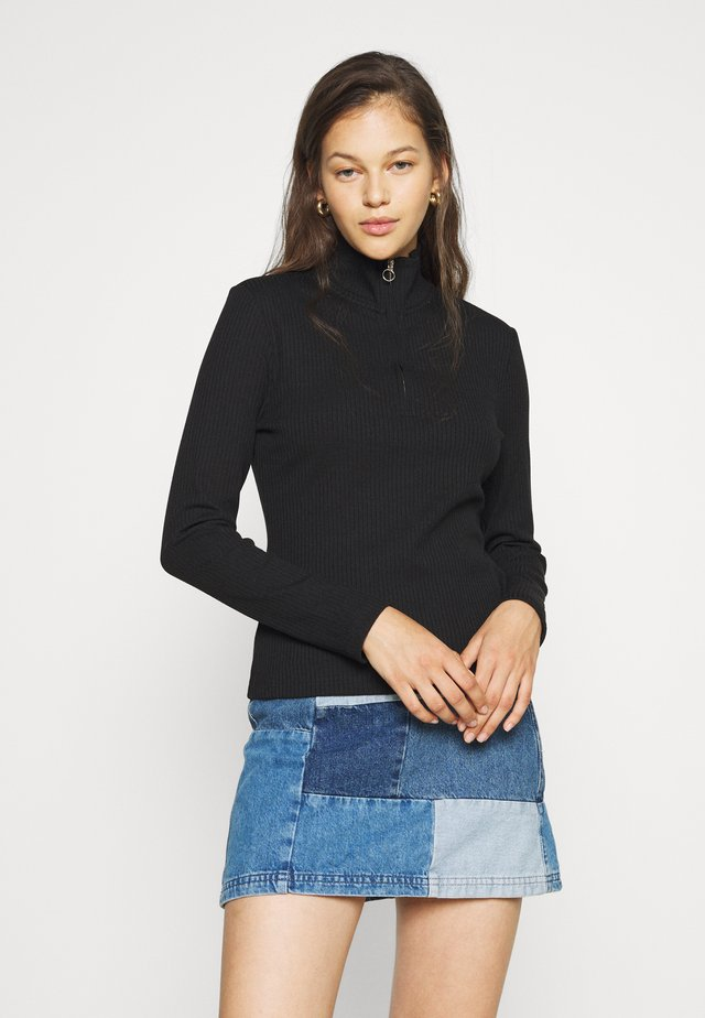 FREYA ZIP FRONT - Long sleeved top - black