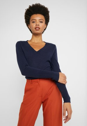 CASH FITTED V NECK - Sweter - navy