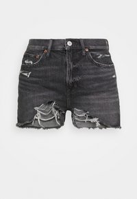 American Eagle - HIGHEST RISE - Denim shorts - washed black - 3