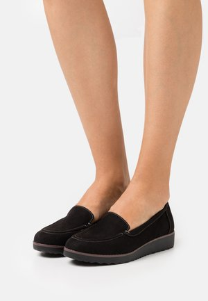 WIDE FIT CONTRAST STITCH LOAFER - Slip-ons - black