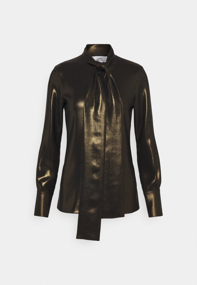 SCARF NECK FLUID SHINE - Camicetta - black/gold
