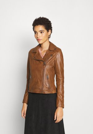 CLIPS - Leather jacket - cognac
