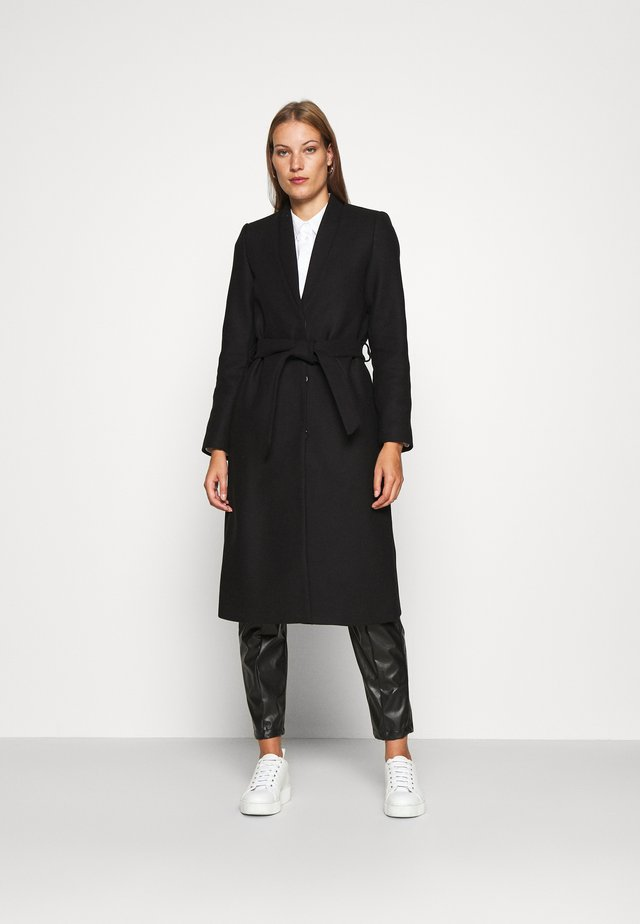 DOUBLE COLLAR COAT - Classic coat - black
