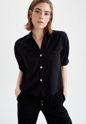 CROPPED FIT  - Button-down blouse - black