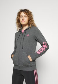 adidas Performance - Bluza rozpinana - dark grey heather/rose tone - 0