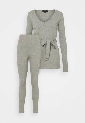 TIE WAIST SET - Leggings - grey marl